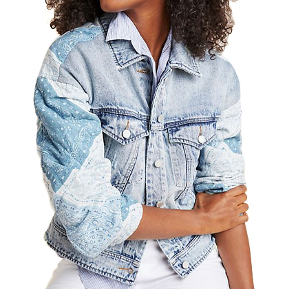 Anthropologie Patchwork Denim Jacket.