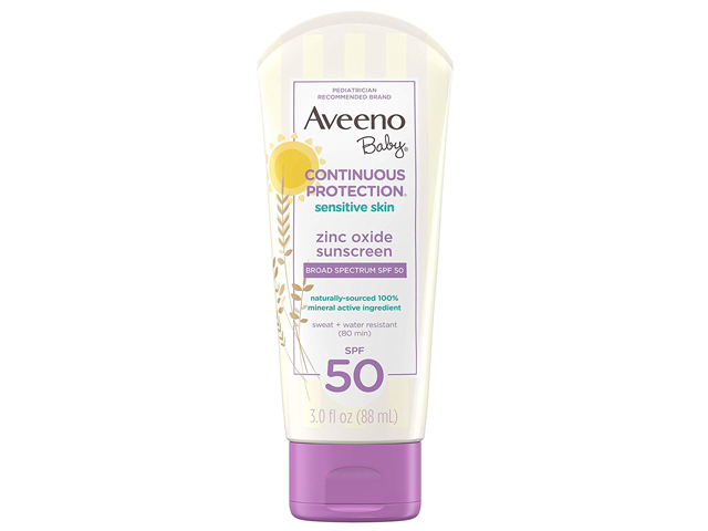 Aveeno Baby Continuous Protection Zinc Oxide Mineral Sunscreen.