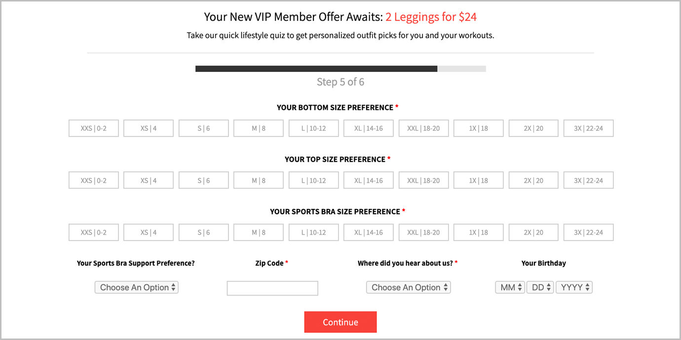 Sizes offered on Fabletics during sign-up.
