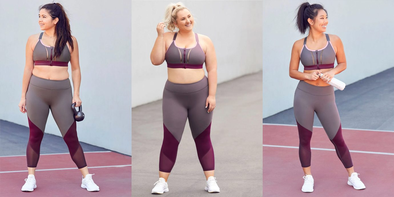 Fabletics outfit on three different sized models.