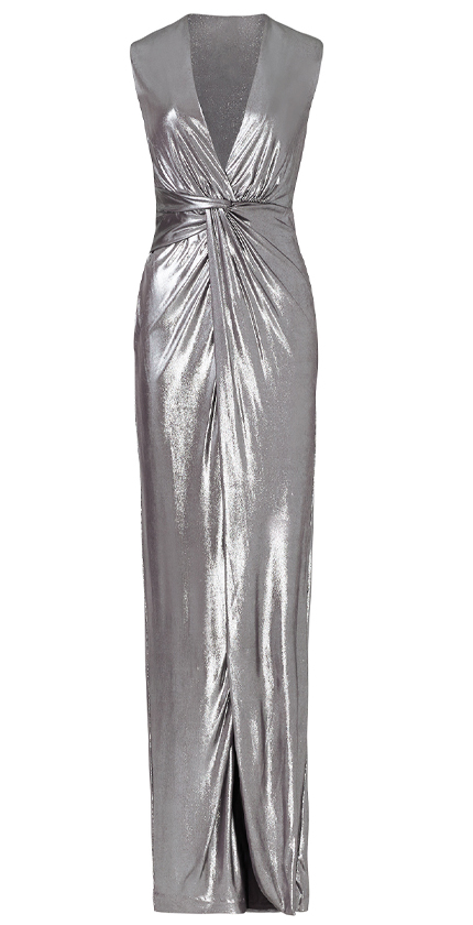 Halston Heritage ADD TO HEARTS Silver Twist Column Gown.