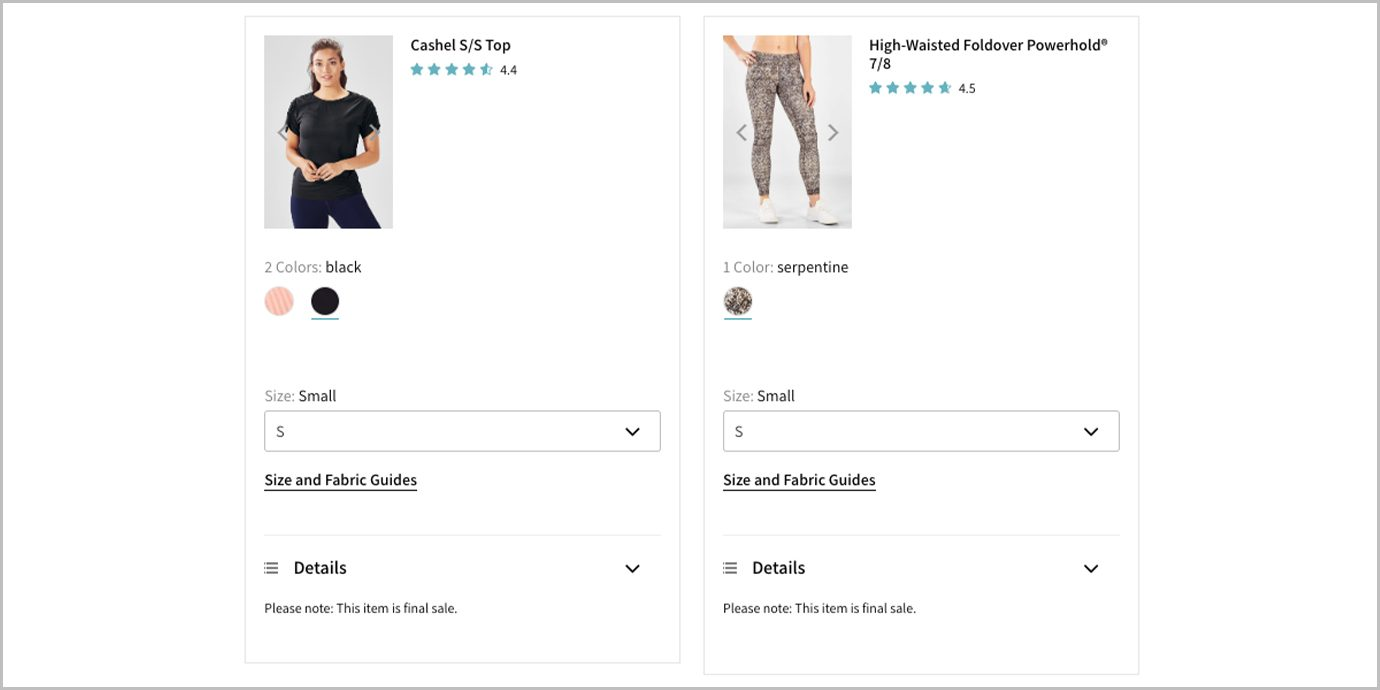 Items marked for final sale on Fabletics.