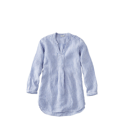 L.L.Bean Premium Washable Linen Shirt, Splitneck Tunic Long-Sleeve Stripe.
