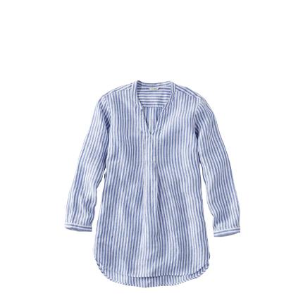 L.L.Bean Premium Washable Linen Shirt, Splitneck Tunic Long-Sleeve Stripe.