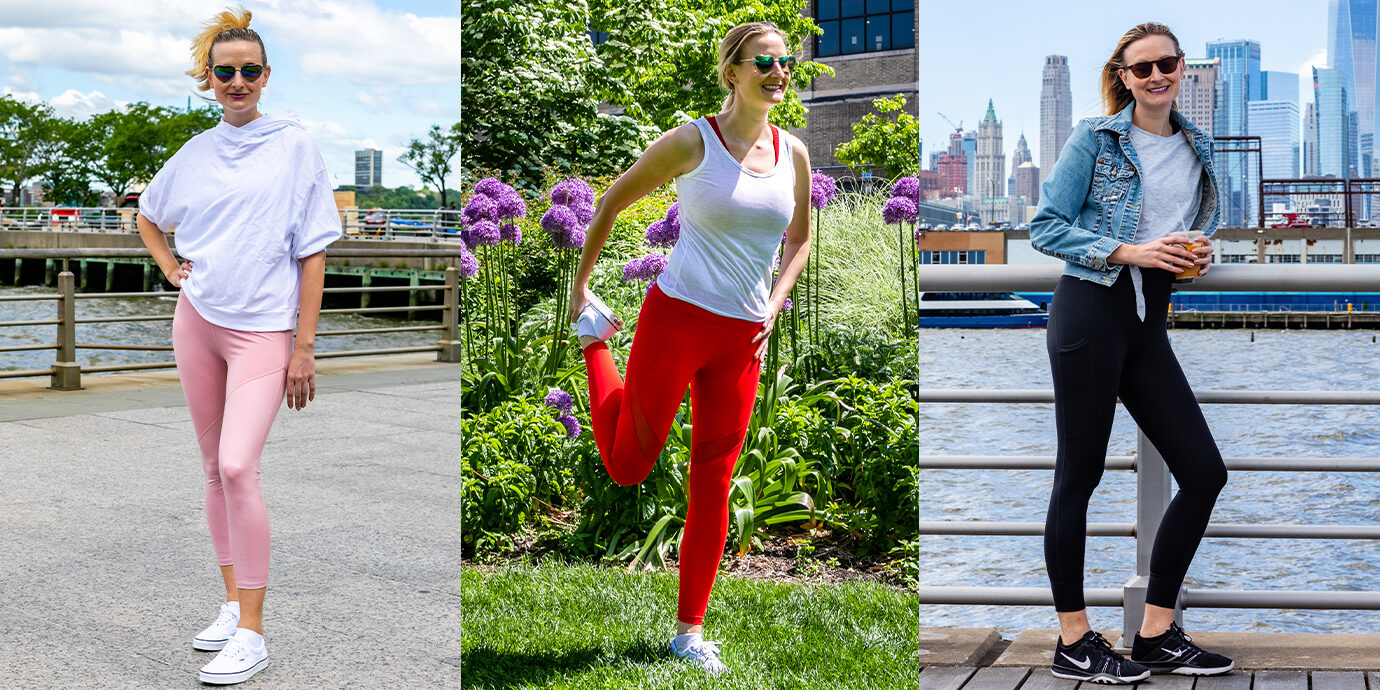 Megan in three different outfits from Fabletics.
