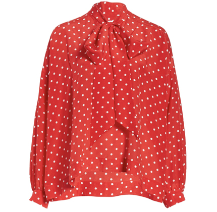 Polka Dot Tie Neck Silk Blouse BALENCIAGA.