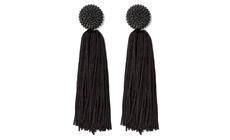 SUGARFIX by BaubleBar Beaded Studs Tassel Drop Earrings - Black.