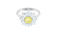 SUNSHINE RING, YELLOW, RHODIUM PLATED.