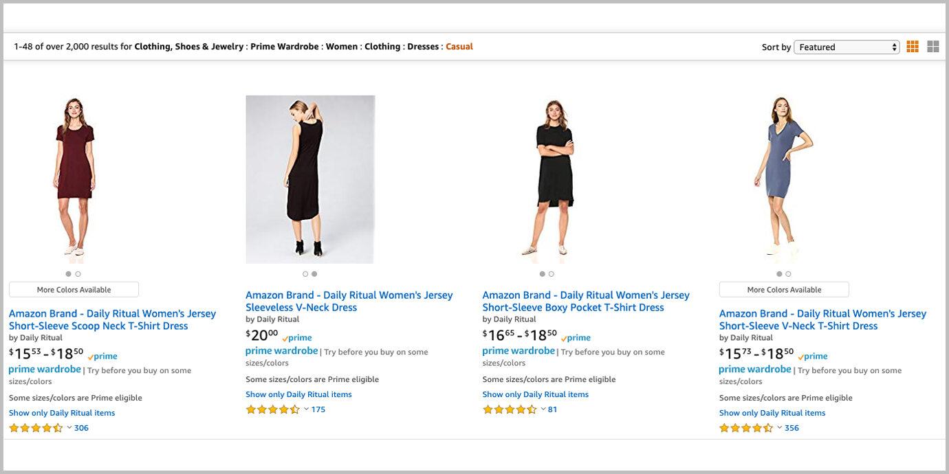 Screenshot of Prime Wardrobe eligible items.