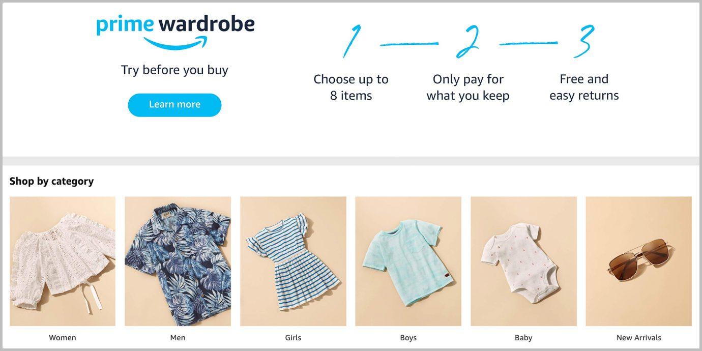 Screenshot of the Amazon Prime Wardrobe Landing Page.