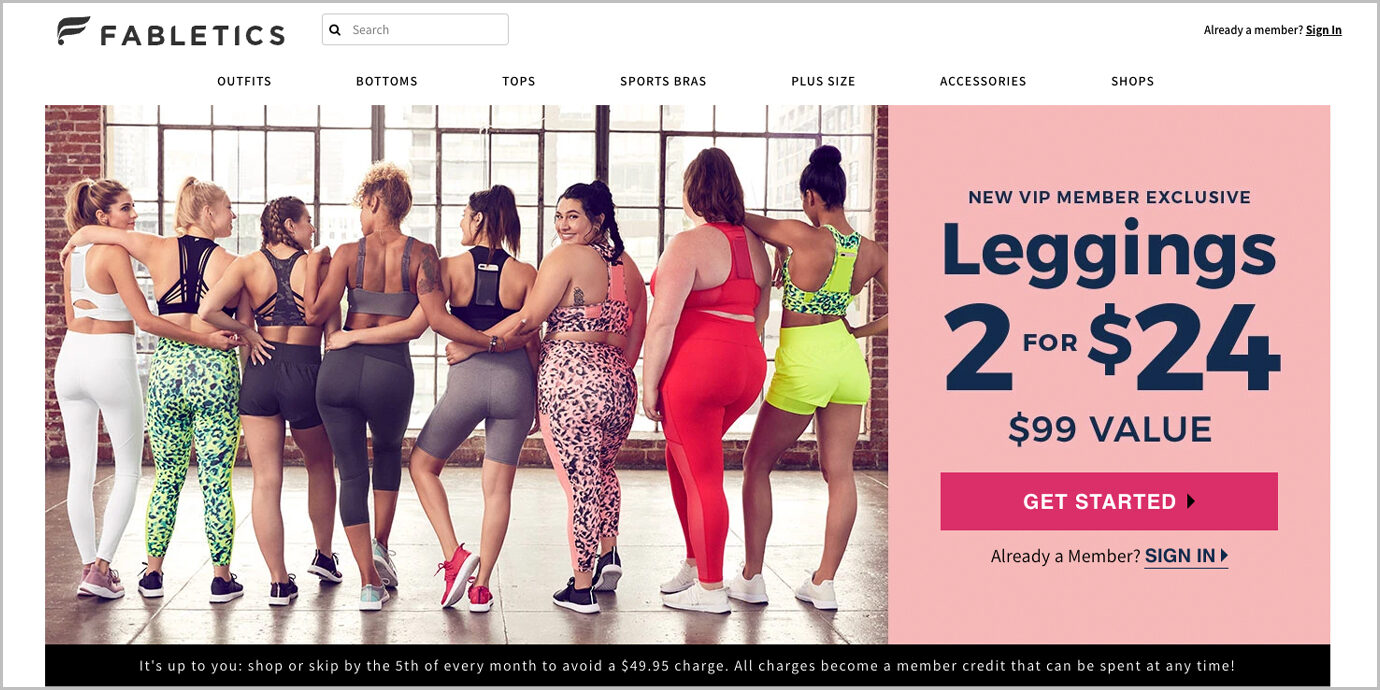 Screenshot of the Fabletics homepage with the new VIP member deal.