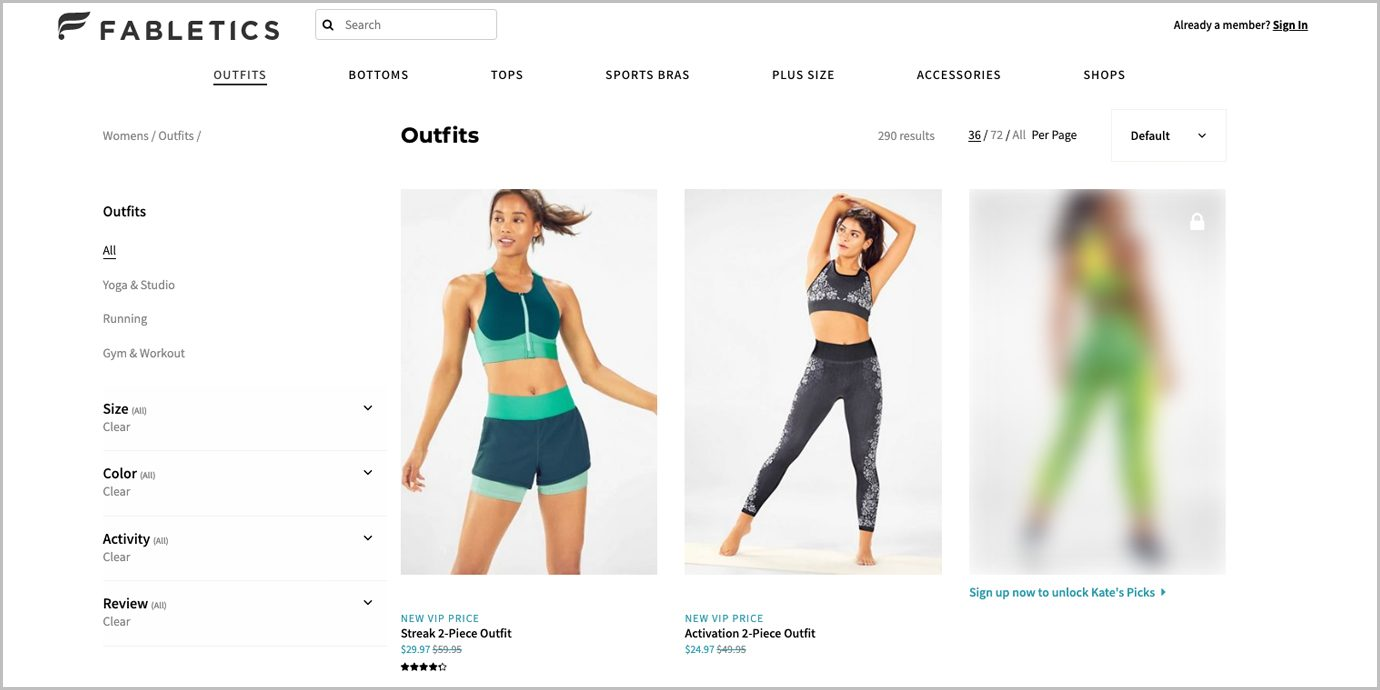 Screenshot of the Fabletics page as a non-VIP member.