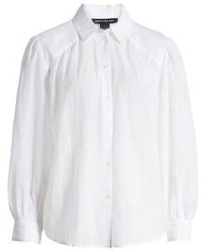 Sheer Button-Up Shirt SOMETHING NAVY.