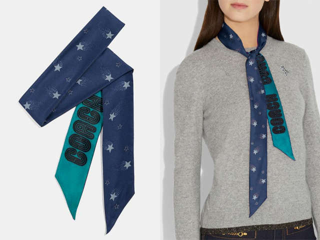 Signature Magic Star Print Silk Skinny Scarf.