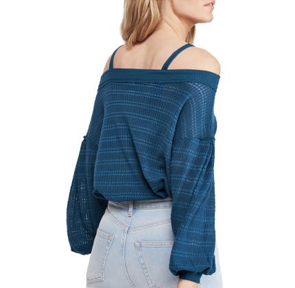 Sistine Cold Shoulder Hacci Knit Top FREE PEOPLE.