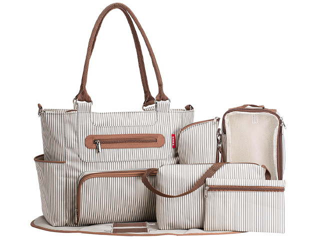 SoHo diaper bag Grand Central Stripe Station 7 pieces set.