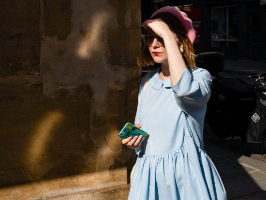 Stylish woman on the street in paris.