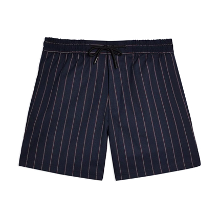 Topman Navy And Burgundy Stripe Shorts.