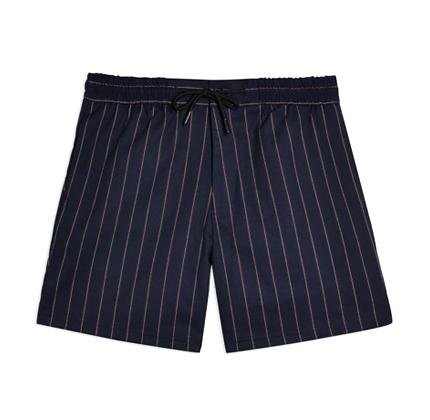 Topman Navy And Burgundy Stripe Shorts.