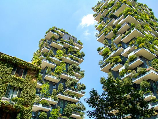 View of Bosco Verticale in Milan.