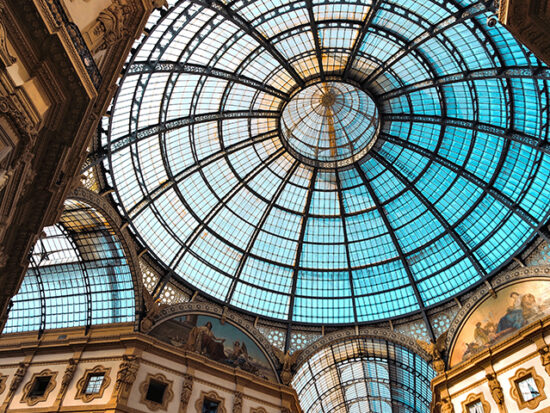 View of the ceiling of Galleria Vittorio Emanuele in Milan.