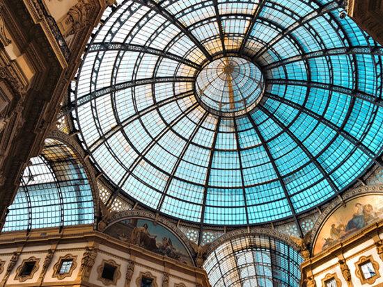 View of the ceiling of Galleria Vittorio Emanuele in Milan.