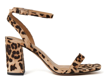 ASOS DESIGN Hong Kong barely there block heeled sandals in leopard.
