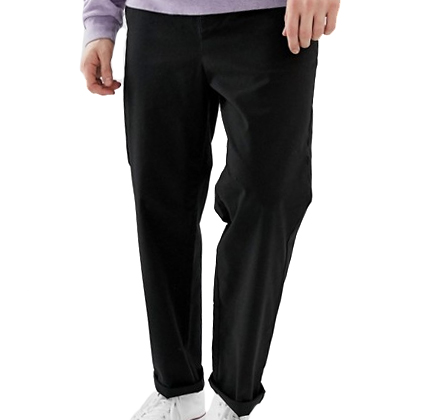 ASOS DESIGN relaxed chinos in black.