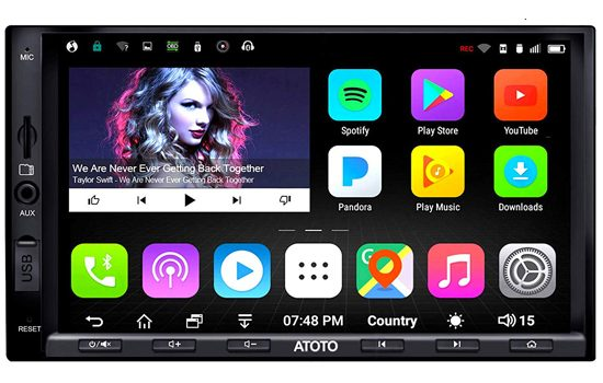 ATOTO A6 Double Din Android Car Navigation Stereo with Dual Bluetooth.