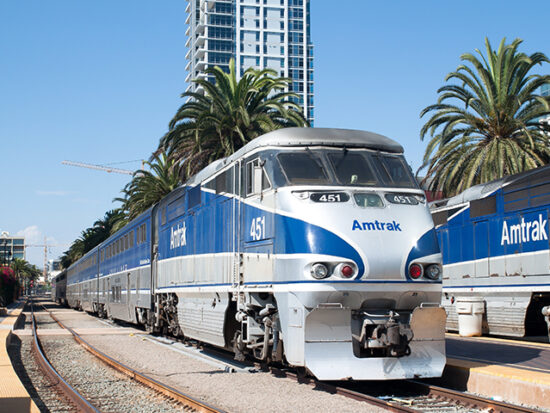 Amtrak train in the station.