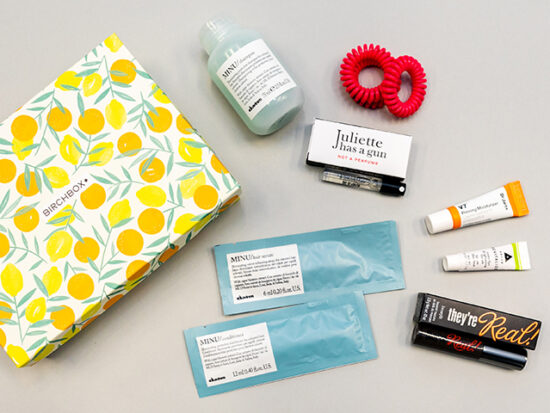 Birchbox unboxing flatlay of products.
