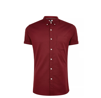 Topman Burgundy Stretch Skinny Oxford Shirt.