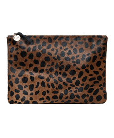 Clare V. Leopard Flat Haircalf Clutch.