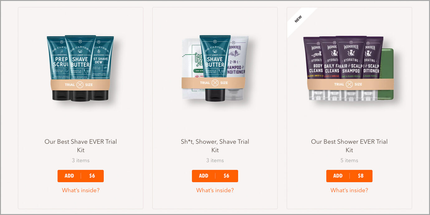 Dollar Shave Club Trial Kits on Website.