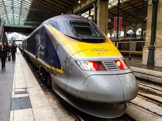 Eurostar train in station.