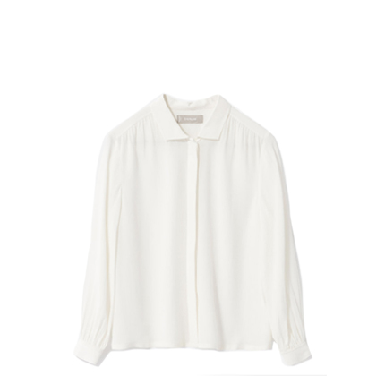 Everlane The Shirred Silk Shirt.