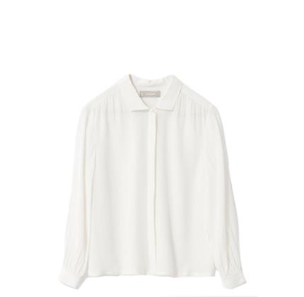Everlane The Shirred Silk Shirt.