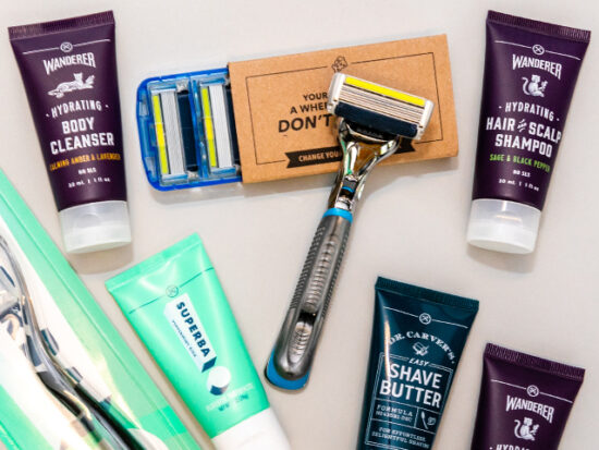 Flat lay of Dollar Shave Club Products.