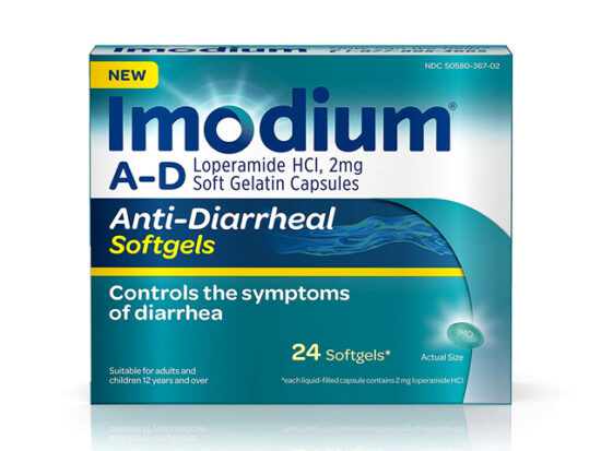 Imodium A-D Anti-Diarrheal Softgels.