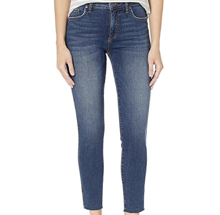 KUT from the Kloth Donna High-Rise Fabric AB Ankle Skinny in Remissive/Dark Stone Base Wash.