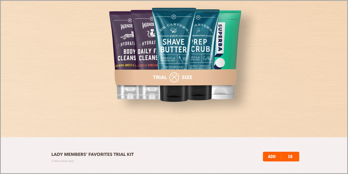 Lady Members Trial Kit on Dollar Shave Club.