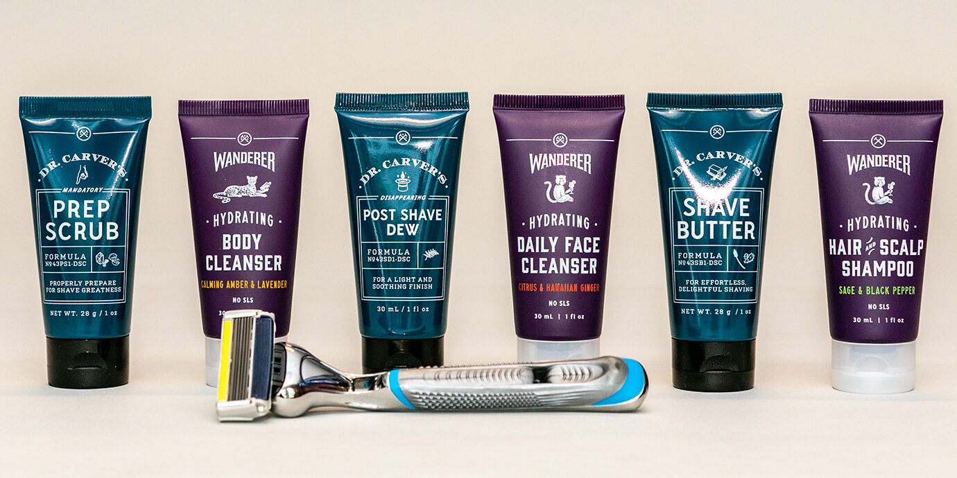 Lineup of Dollar Shave Club Products.
