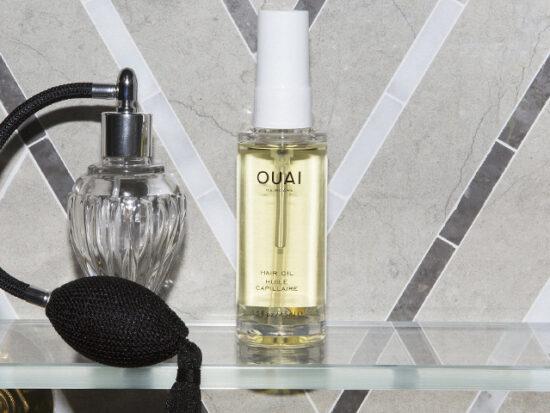 OUAI Hair Oil in Bathroom.