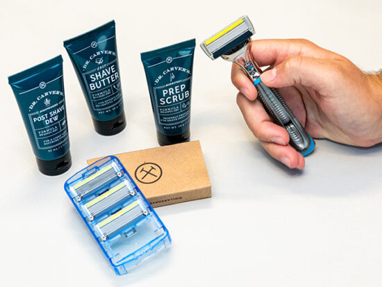 Razor Cartridges 4-Pack, Shave Butter, Prep Scrub, and Post Shave Dew.