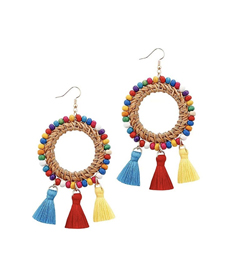 Ckysee Rattan Tassel Earrings