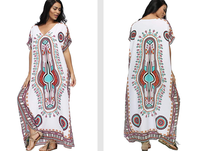 SMUDGE Life Women's White Ethnic Print Kaftan Maxi Dress.