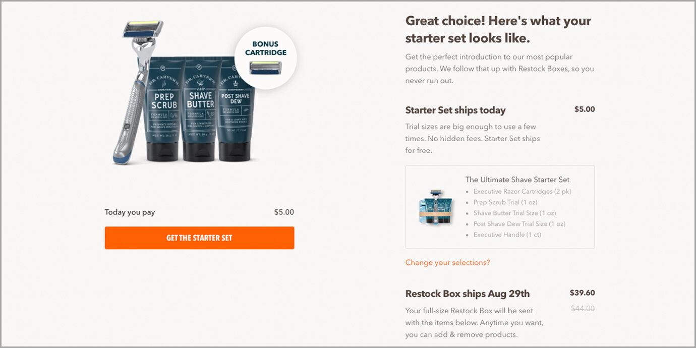 The Starter Set on Dollar Shave Club Screenshot.