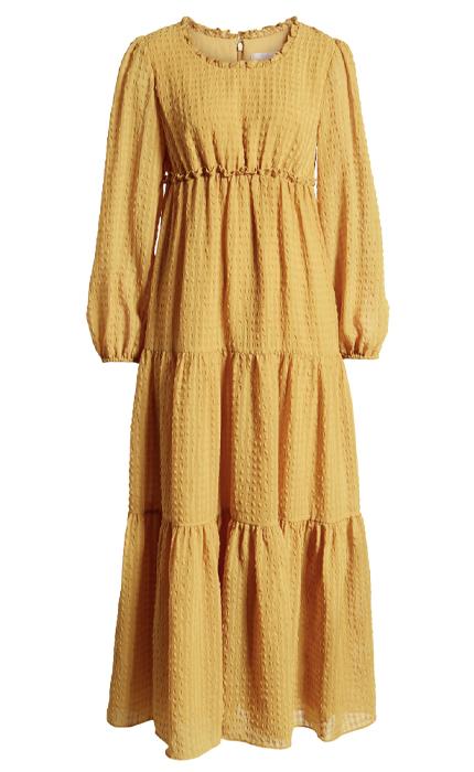 Tiered Long Sleeve Maxi Dress RACHEL PARCELL.