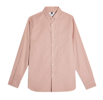 Topman Pink Slim Shirt With Linen.