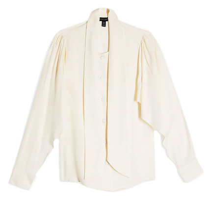 Topshop Neck Tie Twill Blouse.